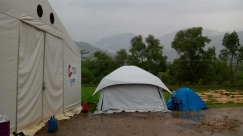 The blue tent is my room for the first 3 weeks in Nuwakot